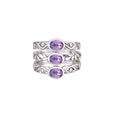 JD R63033 AMETHYST TRIPLE STACKED RING
