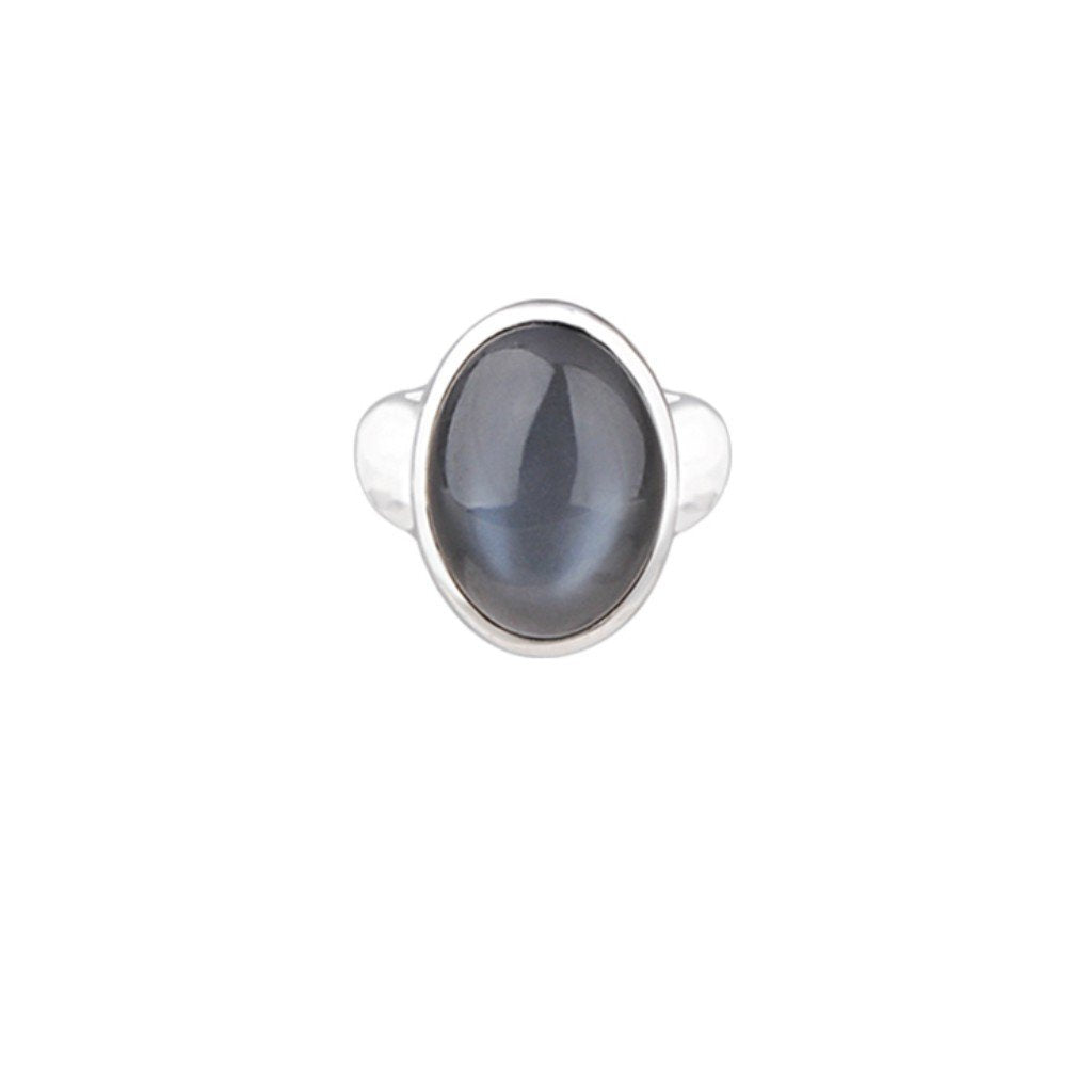 JD R64117GMS GREY MOONSTONE OVAL RING