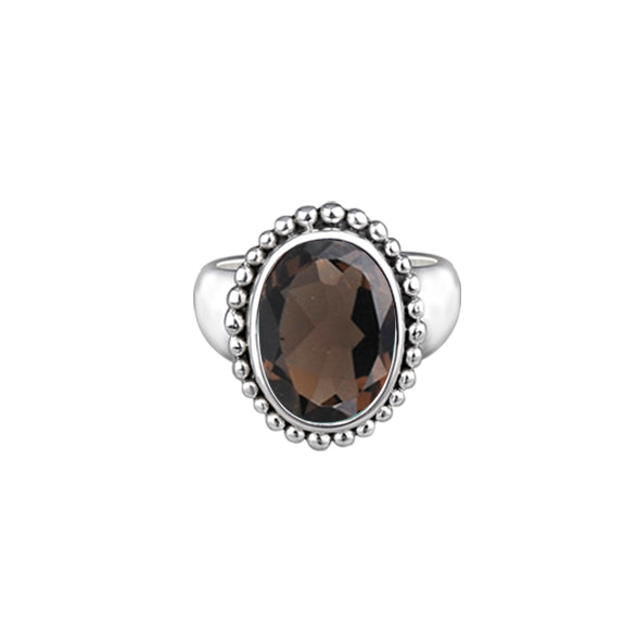 JD R64165SQZ SMOKEY QUARTZ OVAL RING