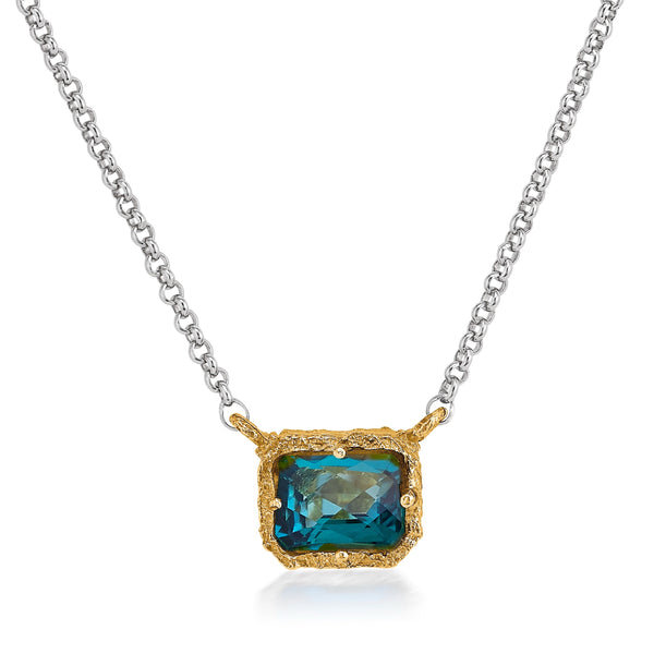 AT 836AT-PT PARAIBA TOPAZ TWO TONE NECKLACE