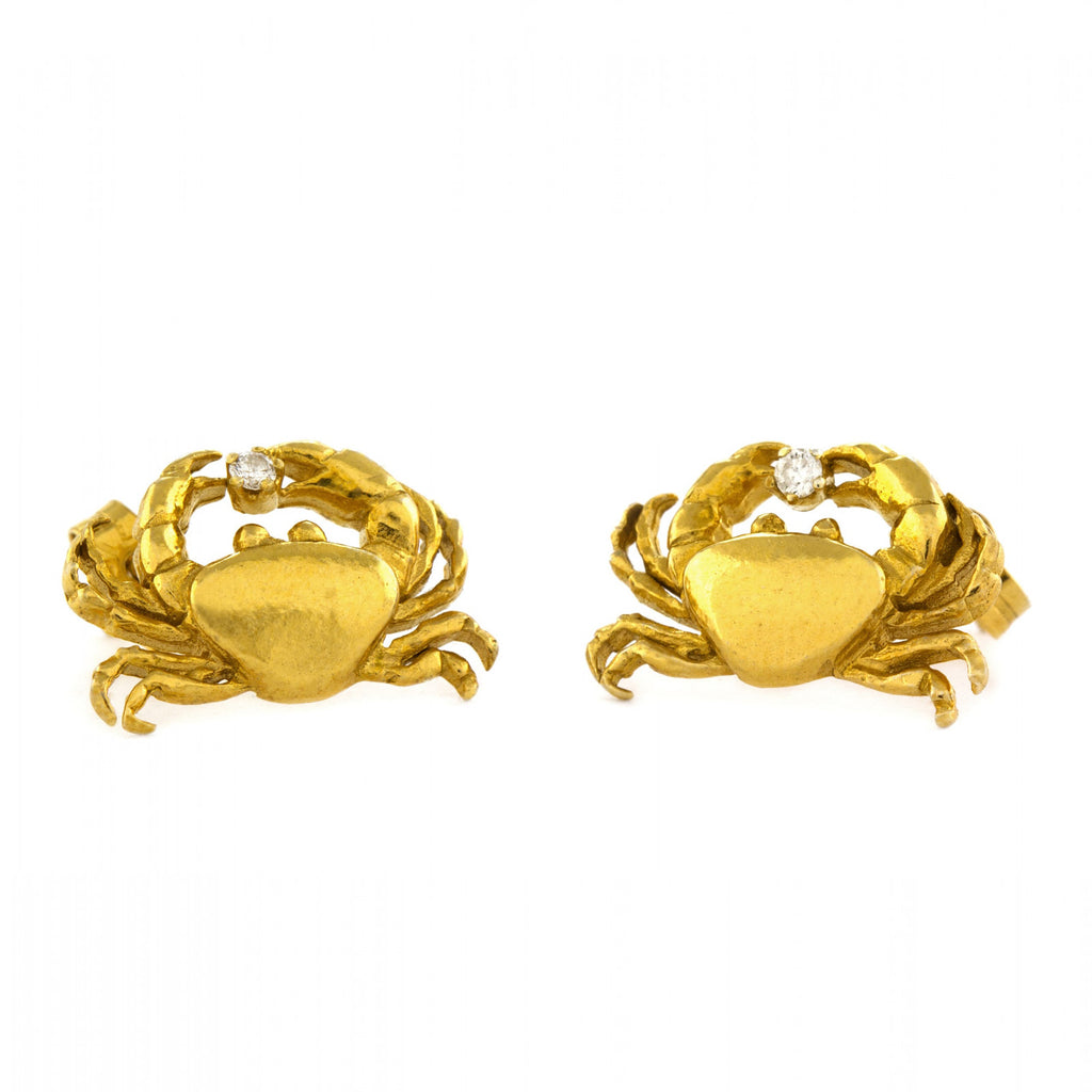ALM BSE3-GP CRAB DIAMOND STUD EARRINGS