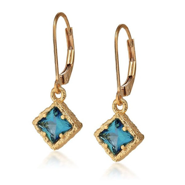 AT 835CG-PT GOLD PARAIBA TOPAZ DANGLES