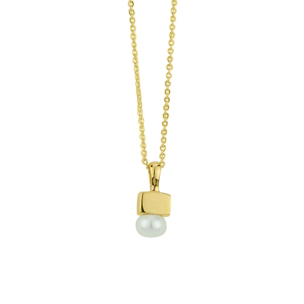 BR PEARL & GOLD CUBE NECKLACE