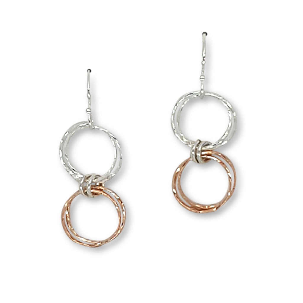 DRD E1342MR ROSE GOLD AND SILVER DANGLE EARRINGS