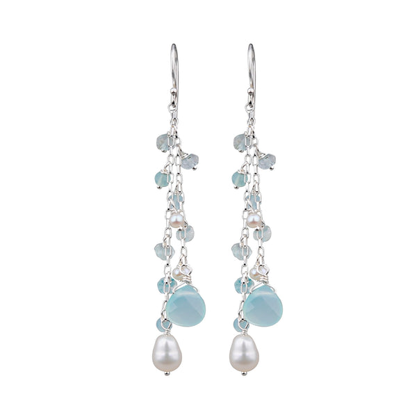 JD E63572 CHALCEDONY & PEARL EARRINGS