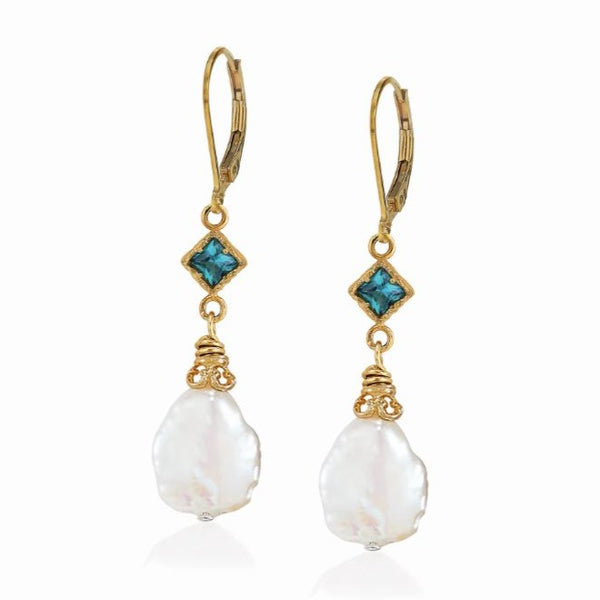 AT 833CG-PTP34 PARAIBA TOPAZ & PEARL EARRINGS