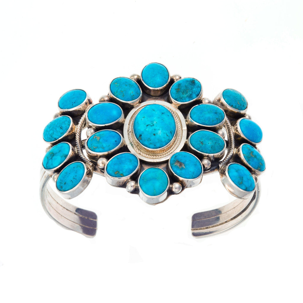 CB LARGE TURQUOISE FLOWER CUFF BRACELET