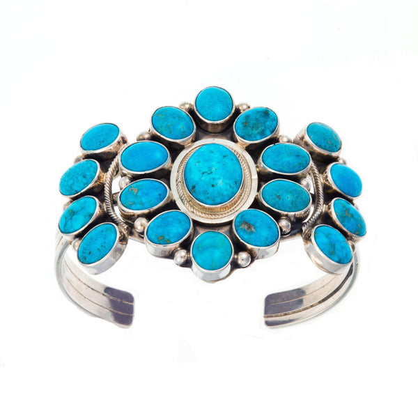 CHIMNEY BUTTE LARGE TURQUOISE FLOWER CUFF BRACELET