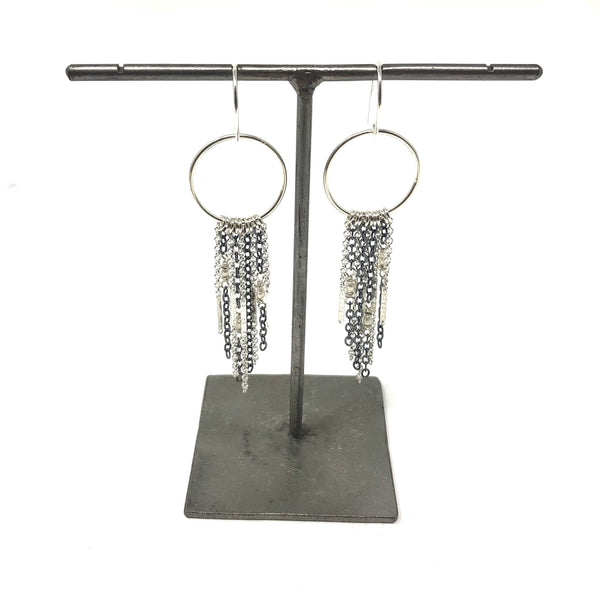 KW QUINN OXIDIZED PEARL FRINGE EARRINGS
