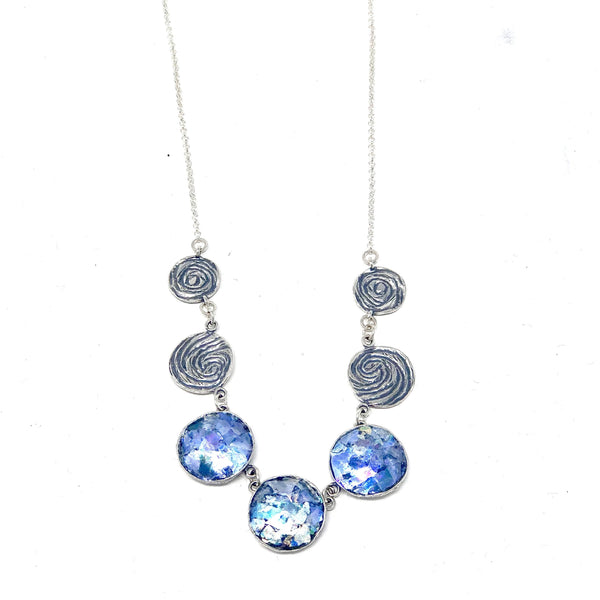 MED ASNRE1510 ROMAN GLASS CIRCLES NECKLACE