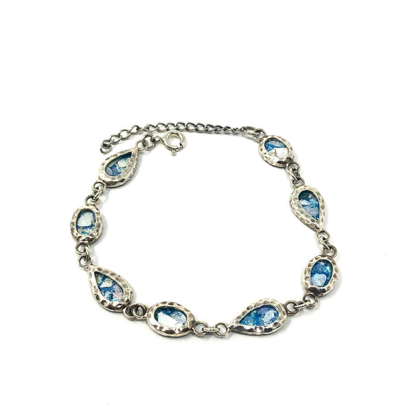 DSB B0195 ROMAN GLASS TEAR DROP BRACELET
