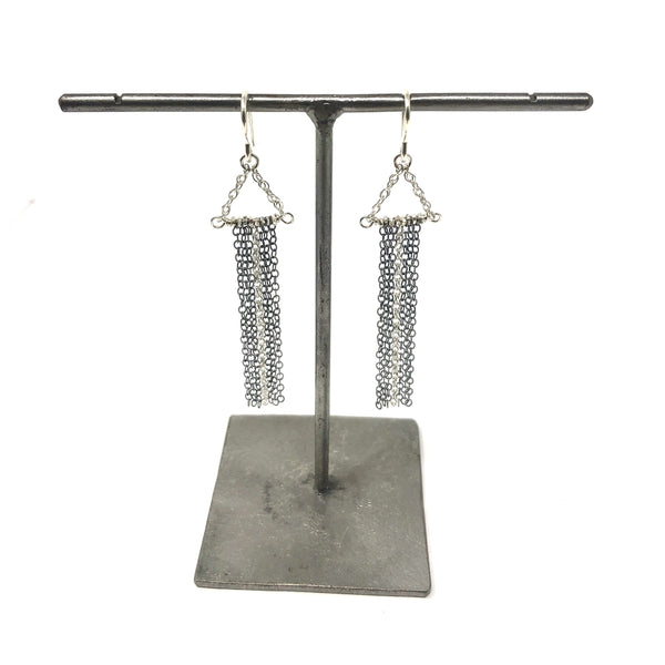 KW TESS OXIDIZED & SILVER FRINGE EARRINGS