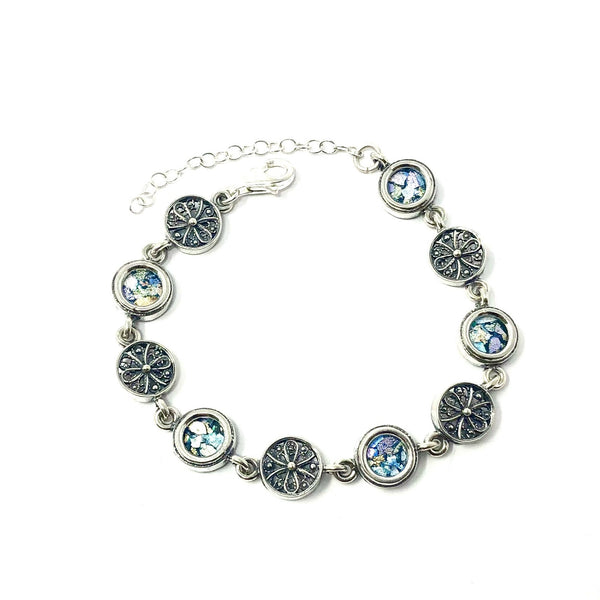 DSB B401 ROMAN GLASS CIRCLE DESIGN BRACELET