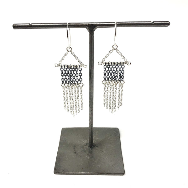 KW GIANNA OXIDIZED & SILVER FRINGE EARRINGS