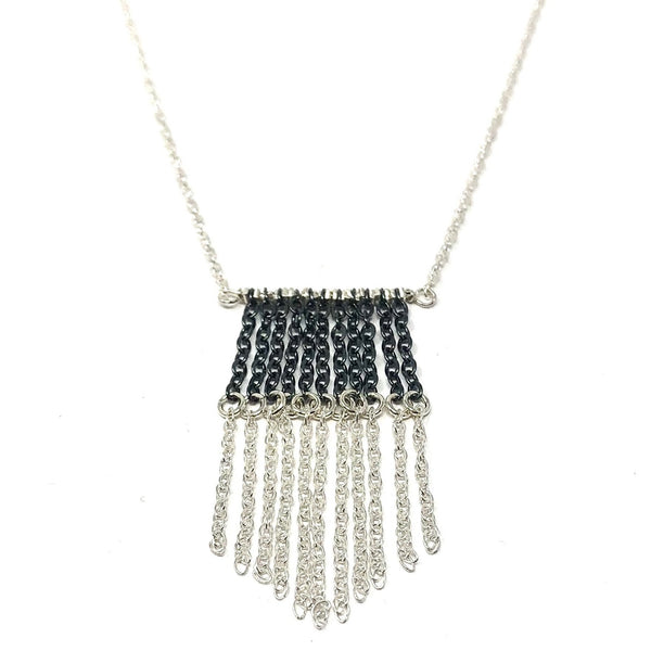 KW LIZ OXIDIZED FRINGE NECKLACE