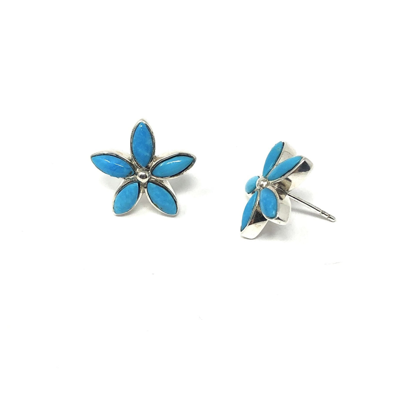 PY TURQUOISE FLOWER POST EARRINGS