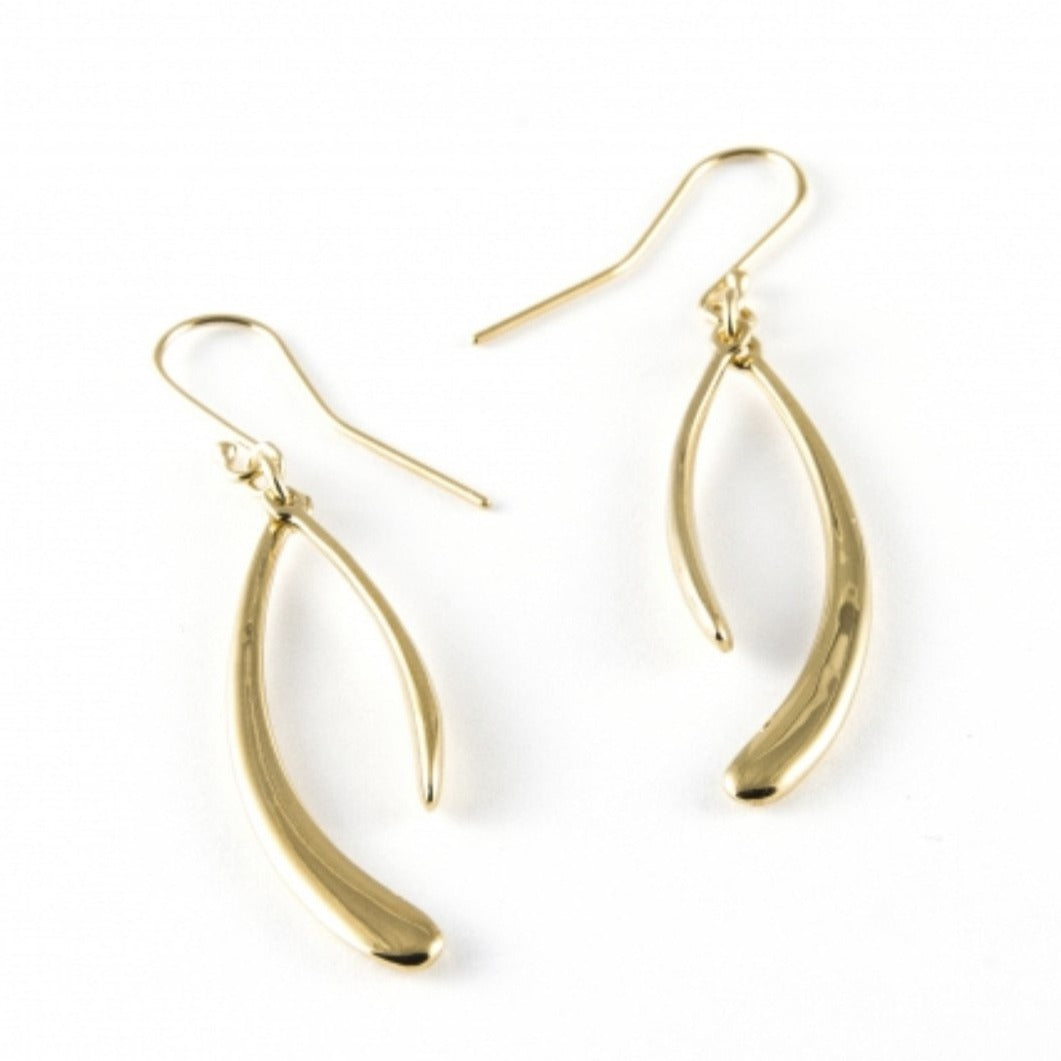 ZN B72/V GOLD DOUBLE CURVED EARRINGS