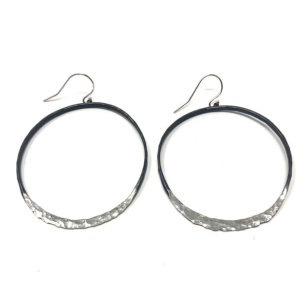 DRD E1626SOX lARGE OXIDIZED OVAL EARRINGS