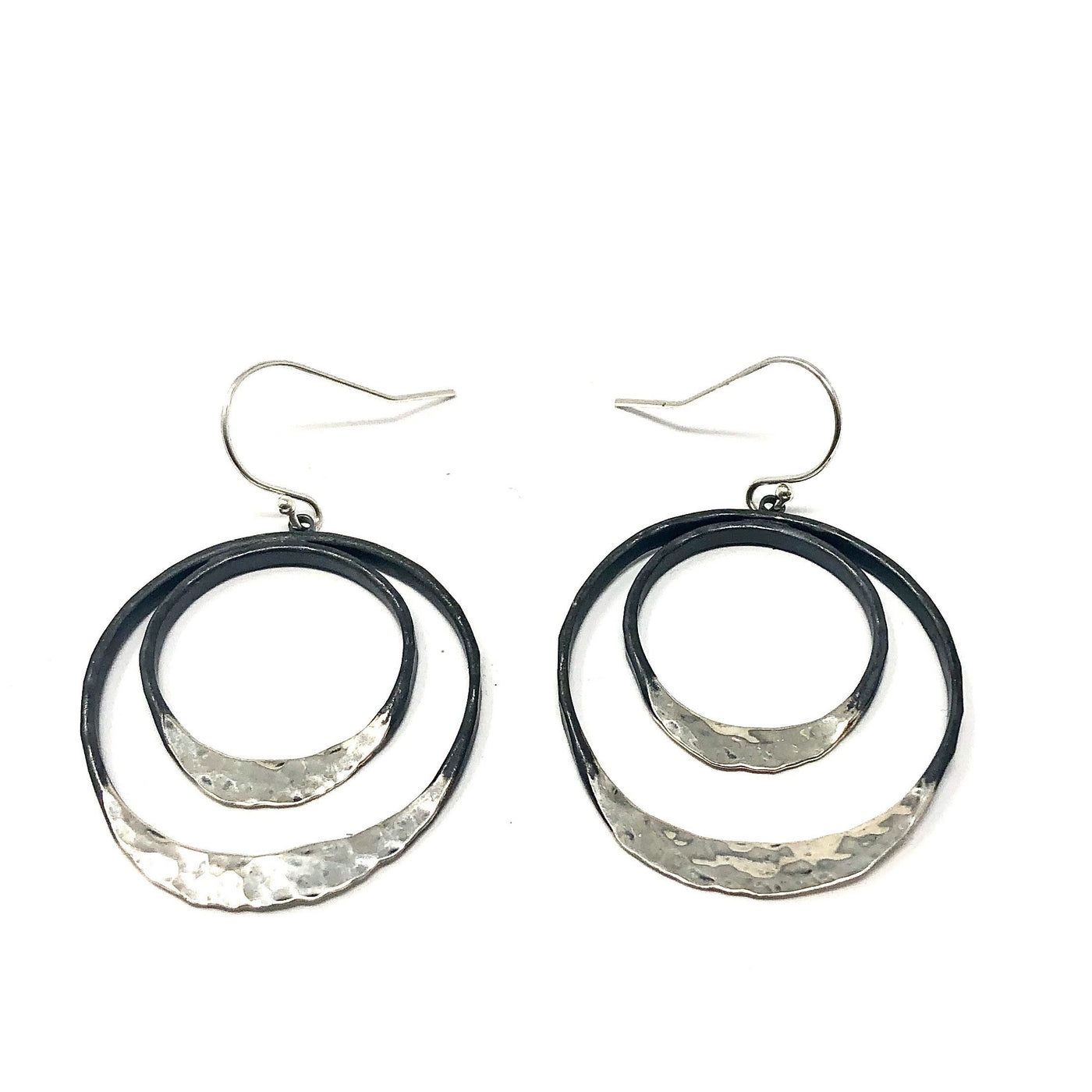 DRD E1627SOX DOUBLE OXIDIZED & SHINY CIRCLE EARRINGS