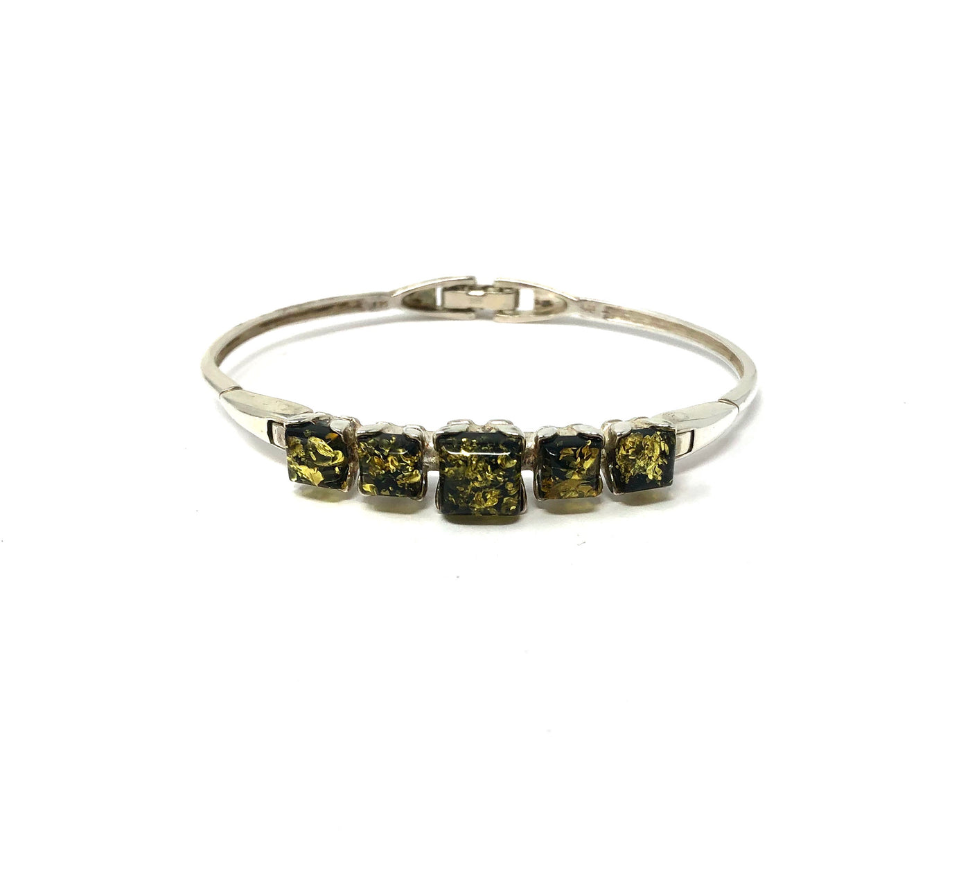 BS BF1241G GREEN AMBER SQUARES BANGLE