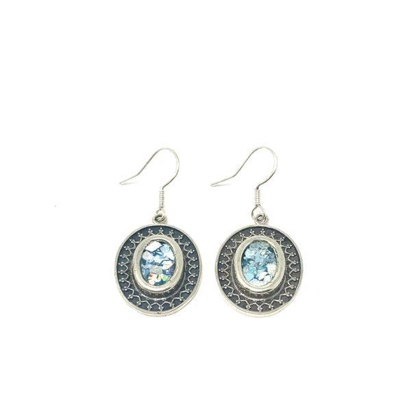 DSB E722  ROMAN OVAL DESIGN EARRINGS