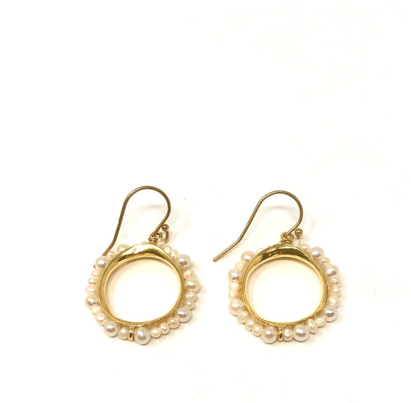 MSH EPOL11G PEARL GOLD CIRCLE DANGLES