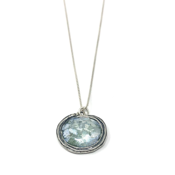 MED ASE2124024PP ROMAN GLASS OVAL NECKLACE