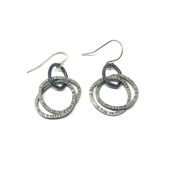 DRD E1797SOX OXIDIZED MUTLI CIRCLE EARRINGS