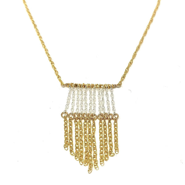 KW LIZ TWO TONE FRINGE NECKLACE