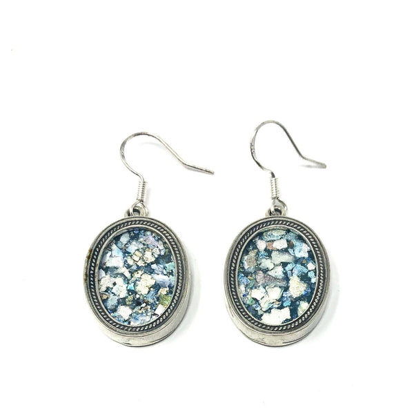 DSB E1320 ROMAN GLASS OVAL EARRINGS