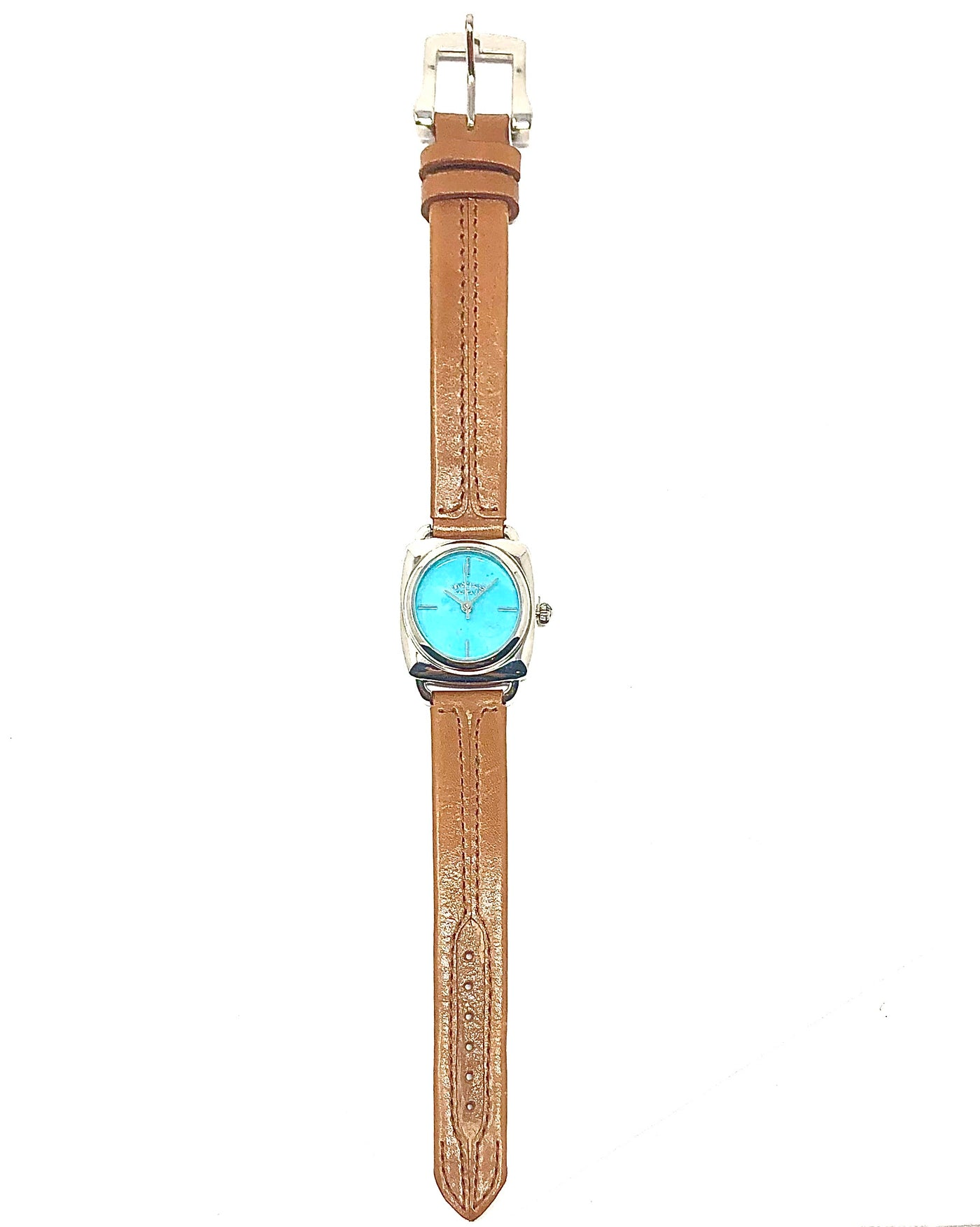 PY TURQUOISE FACE & BROWN LEATHER WATCH