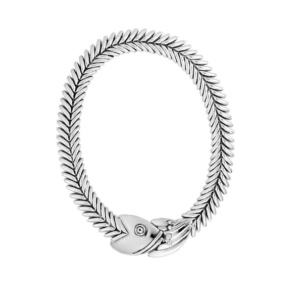 Z 0517 129 LARGE FISHBONE NECKLACE