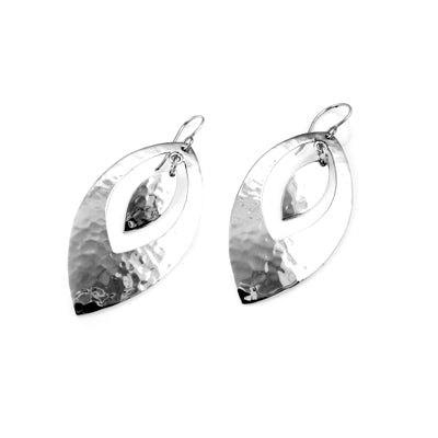 MM M1-1094 10 LARGE HAMMERED OPEN MARQUIS EARRINGS