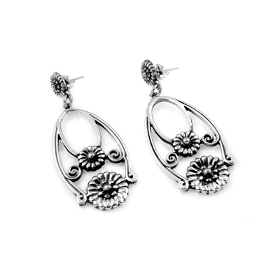 MM M1-1136 17 OPEN FLOWER DROP POST EARRINGS