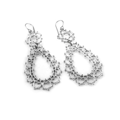 MM M1-1137 13 BRUSHED FLOWER LACE TEARDROP EARRINGS