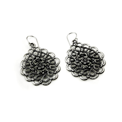 MM M1-1144 15 OXIDIZED SPIRAL FLOWER DROP EARRINGS