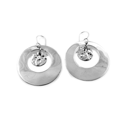 MM M1-1205 8 OPEN CIRCLE AND SMALL HAMMERED CIRCLE DROP EARRINGS