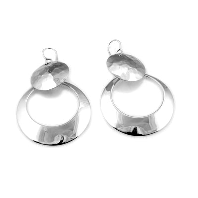 MM M1-1206 12 HAMMERED DOUBLE CIRCLE HALF OPEN EARRINGS
