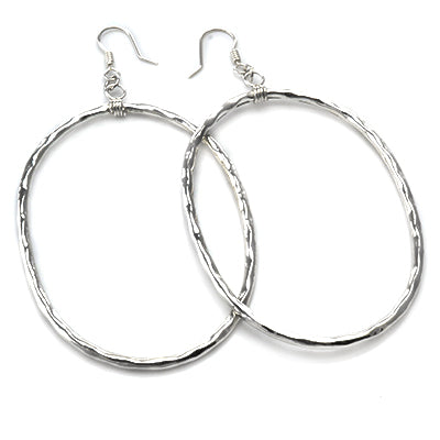 MM M1-1599 12 XL HAMMERED OVAL EARRINGS