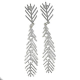 MM M1-2103 14 BRUSHED STICK LEAF EARRINGS