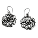 MM M1-2471 OXIDIZED FLOWER EARRINGS