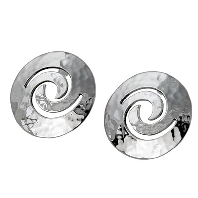 MM M1-2516 LARGE HAMMERED SPIRAL POST EARRINGS