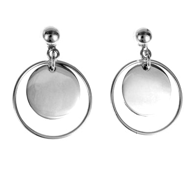 MM M1-31 8 OPEN CIRCLE WITH DISC DROP EARRINGS