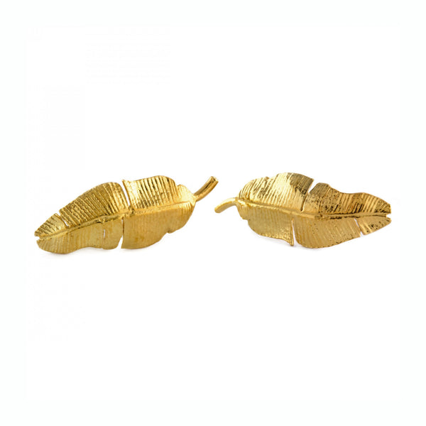 ALM PHE9-GP BANANA LEAF STUD EARRINGS