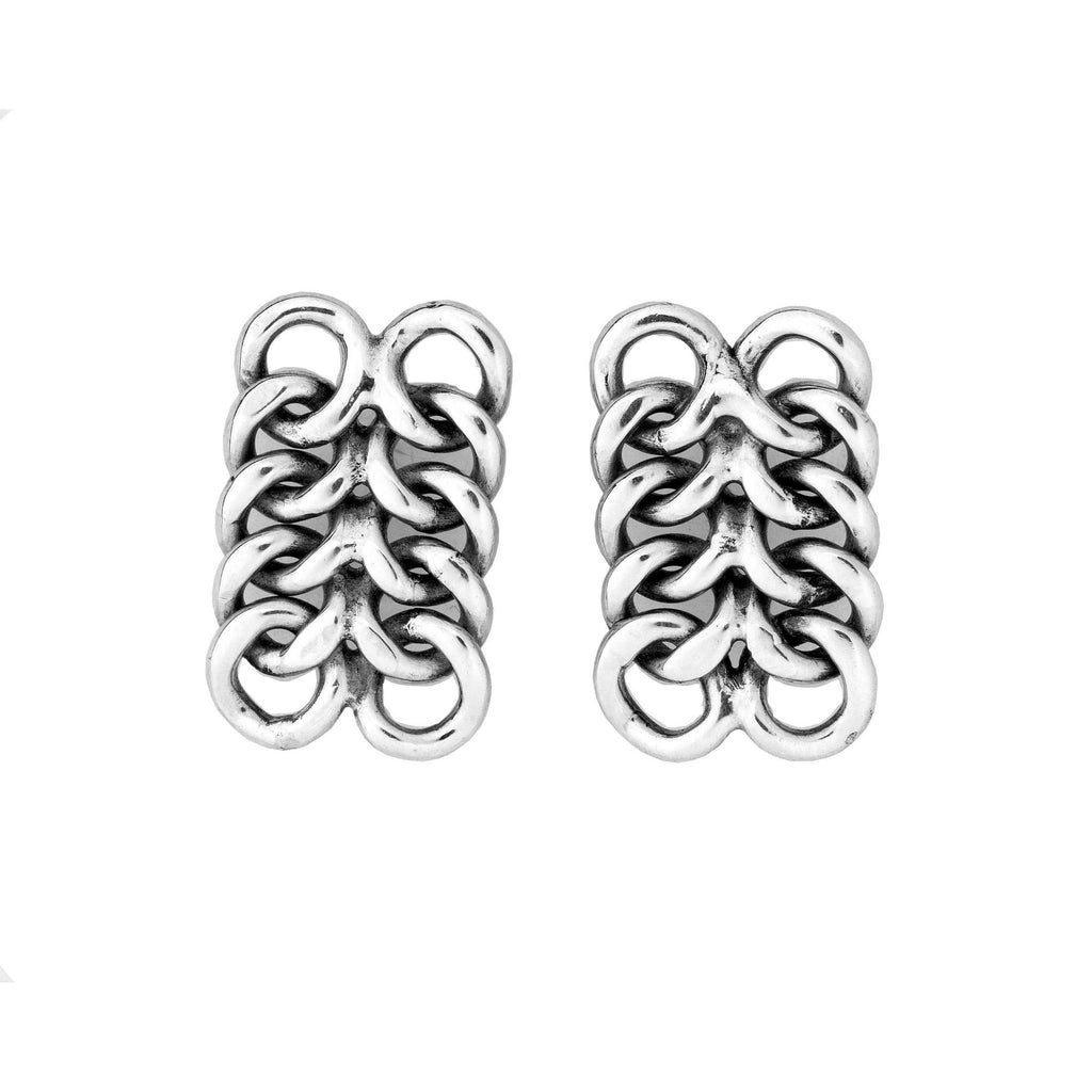 CH 0317 10 WOVEN POST EARRINGS