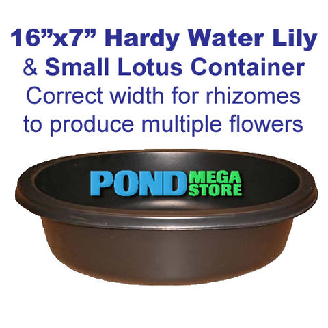 Planting Container for Waterlilies is 16 inches wide x 7 inches Deep