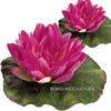 Imitation / Artificial Bright Pink 6.5 Inch Floating Waterlily with Lilypad