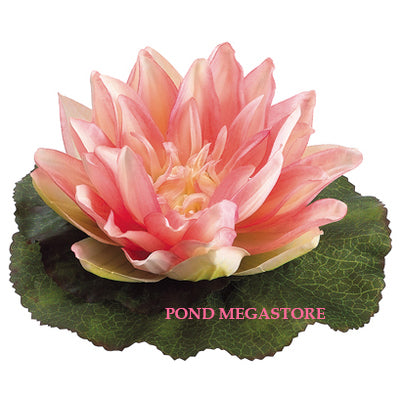 Artificial Floating Waterlily and Lilypad, Pink  6.5 Inch