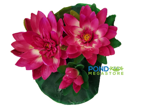 Imitation/Artificial Waterlily Pad With 3 Waterlily Blooms, Large (Bright Fuchsia Pink) 9 inch