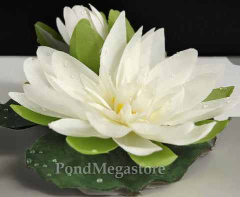 Faux Small White Artificial/Imitation Waterlily with Bud  (4 inches)